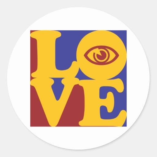 Amor de la optometría etiqueta redonda