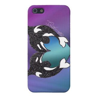 Amor de la orca en aurora boreal iPhone 5 funda