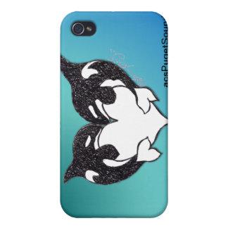 Amor de la orca en fondo del trullo iPhone 4 carcasa