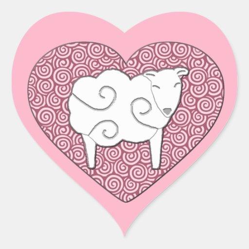 Amor de la oveja del amor usted pica a los pegatina en forma de corazón