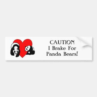 Amor de la panda etiqueta de parachoque