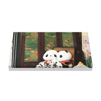Amor de la panda lienzo envuelto para galerías