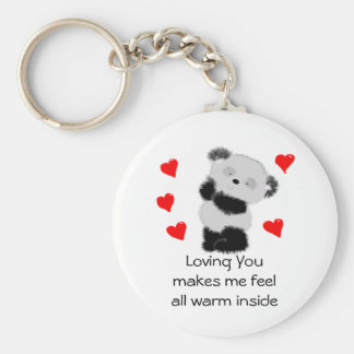 Amor de la panda llavero redondo tipo pin