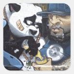 Amor de la panda calcomanías cuadradas personalizadas