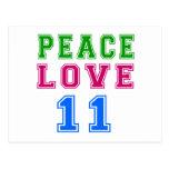 Amor de la paz 11 diseños del cumpleaños postal