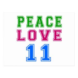 Amor de la paz 11 diseños del cumpleaños tarjetas postales