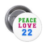 Amor de la paz 22 diseños del cumpleaños pins