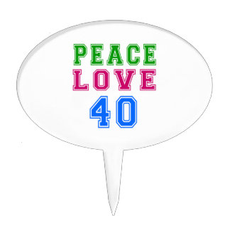Amor de la paz 40 diseños del cumpleaños figura para tarta