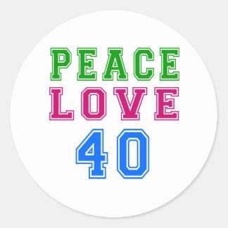 Amor de la paz 40 diseños del cumpleaños pegatinas redondas