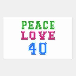 Amor de la paz 40 diseños del cumpleaños rectangular pegatinas