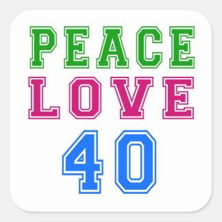 Amor de la paz 40 diseños del cumpleaños calcomania cuadradas personalizadas