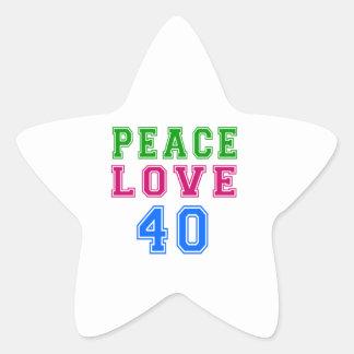 Amor de la paz 40 diseños del cumpleaños pegatinas forma de estrella