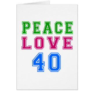 Amor de la paz 40 diseños del cumpleaños tarjetón