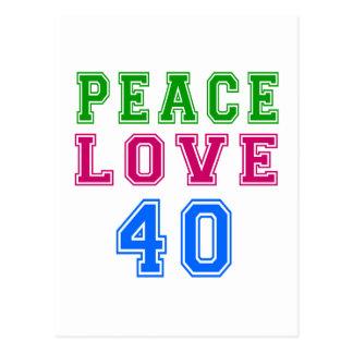 Amor de la paz 40 diseños del cumpleaños postal