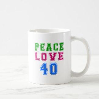 Amor de la paz 40 diseños del cumpleaños taza