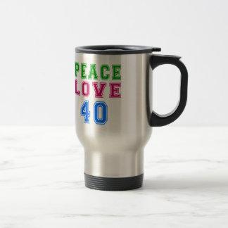 Amor de la paz 40 diseños del cumpleaños tazas de café