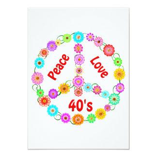 amor de la paz 40s invitación 12,7 x 17,8 cm