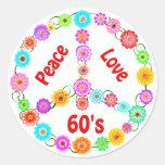 amor de la paz 60s etiqueta redonda