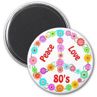 amor de la paz 80s iman de nevera
