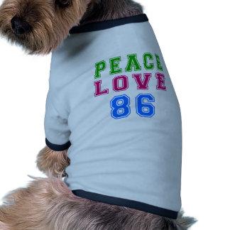 Amor de la paz 86 diseños del cumpleaños camisetas mascota