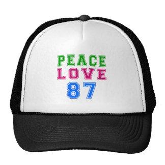 Amor de la paz 87 diseños del cumpleaños gorro