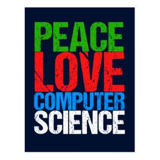 Amor de la paz de informática tarjeta postal