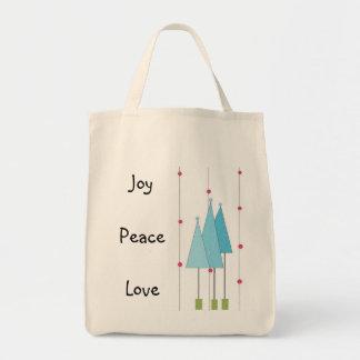 Amor de la paz de la alegría - azul bolsa tela para la compra
