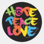 Amor de la paz de la esperanza pegatinas redondas