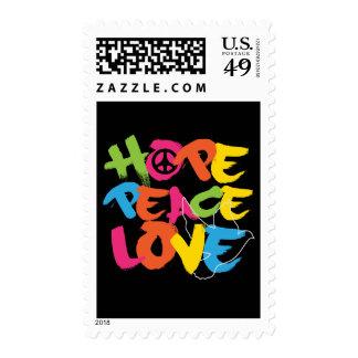 Amor de la paz de la esperanza franqueo