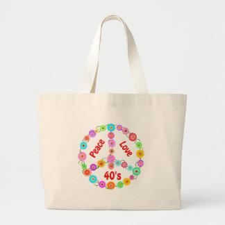 amor de la paz de los años 40 bolsa de tela grande