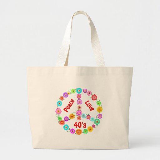 amor de la paz de los años 40 bolsa tela grande