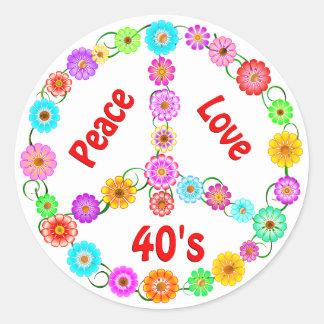 amor de la paz de los años 40 etiquetas redondas