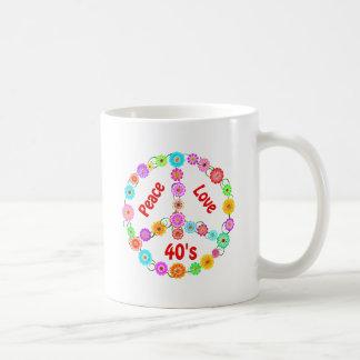 amor de la paz de los años 40 tazas