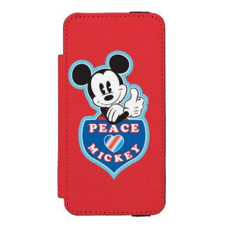 Amor de la paz de Mickey el   del día de fiesta Funda Billetera Para iPhone 5 Watson