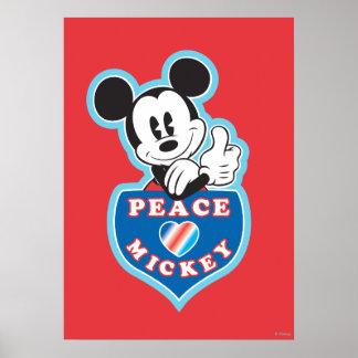 Amor de la paz de Mickey el   del día de fiesta Póster