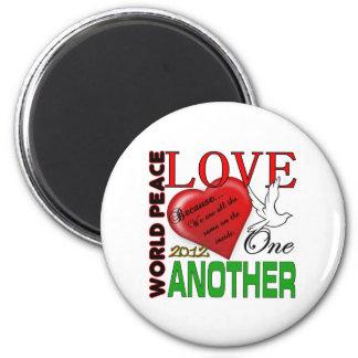 Amor de la paz de mundo un otro diseño original 20 imán de nevera