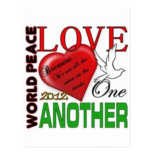 Amor de la paz de mundo un otro diseño original 20 postal