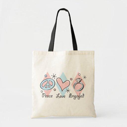 Amor de la paz dedicado bolsa tela barata