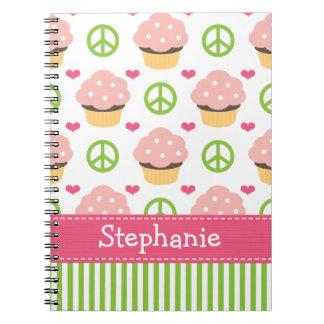 Amor de la paz del diario del cuaderno espiral de