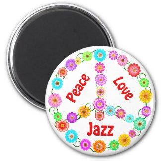 Amor de la paz del jazz imán de nevera