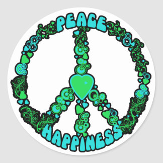 Amor de la paz feliz etiquetas redondas