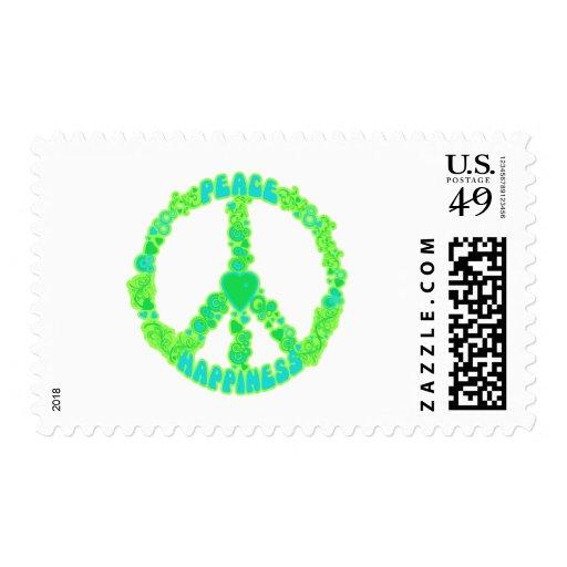 Amor de la paz feliz sellos postales
