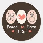 Amor de la paz hago a los pegatinas etiqueta redonda