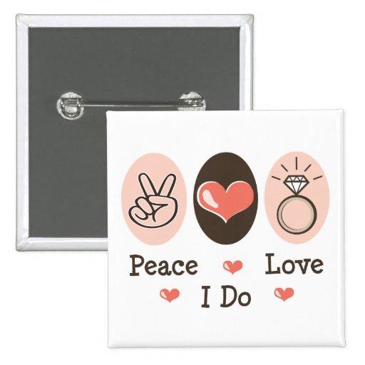 Amor de la paz hago el botón de la novia pin
