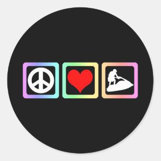 Amor de la paz jetskiing pegatina