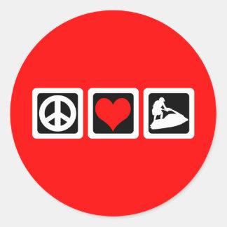Amor de la paz jetskiing etiquetas
