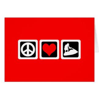 Amor de la paz jetskiing tarjeta de felicitación