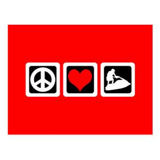 Amor de la paz jetskiing tarjetas postales