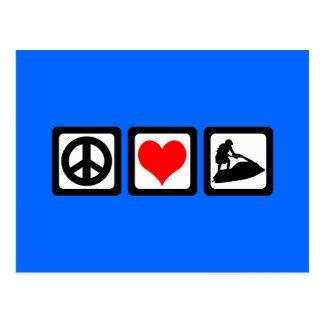 Amor de la paz jetskiing tarjeta postal