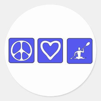 Amor de la paz Kayaking Pegatina Redonda